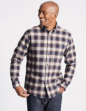 Brushed Cotton Checked Shirt , AMBER MIX, catlanding
