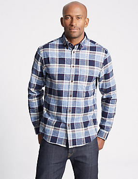 Brushed Cotton Checked Shirt , BLUE MIX, catlanding