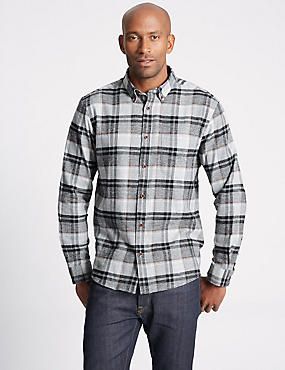 Brushed Cotton Checked Shirt , GREY MIX, catlanding