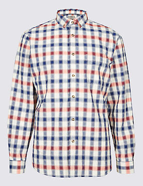 Pure Cotton Textured Check Shirt with Pocket