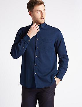 Pure Cotton Waffle Shirt with Pocket, DARK INDIGO, catlanding