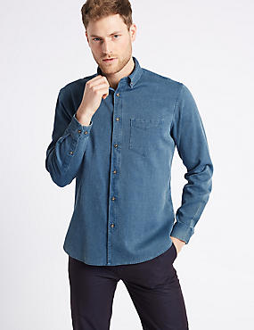 Pure Cotton Waffle Shirt with Pocket, CHAMBRAY, catlanding
