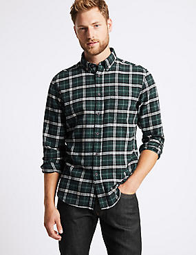 Brushed Cotton Checked Shirt, GREEN MIX, catlanding