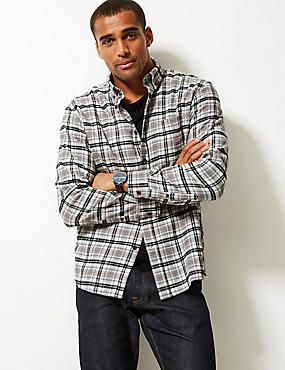 Brushed Cotton Checked Shirt, GREY MIX, catlanding