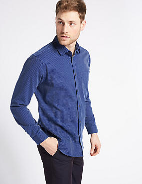 Pure Cotton Textured Shirt with Pocket, INDIGO, catlanding