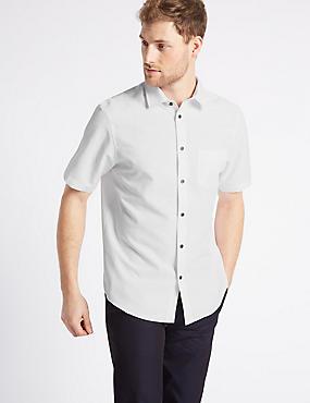 Linen Blend Checked Shirt with Pocket, SOFT WHITE, catlanding
