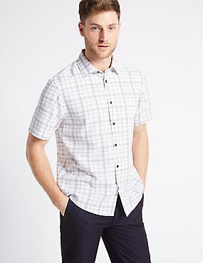Linen Blend Checked Shirt with Pocket, WHITE, catlanding