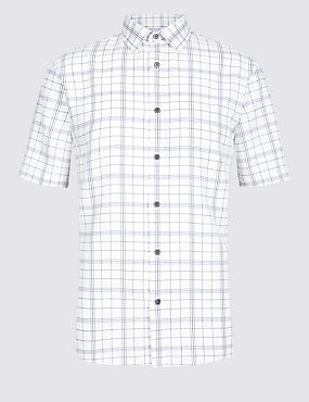 Linen Blend Checked Shirt with Pocket