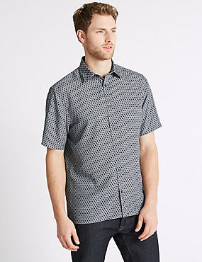 Geometric Print Shirt, NAVY, catlanding
