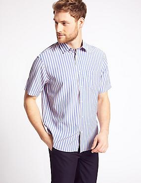 Modal Blend Striped Shirt with Pocket, PINK MIX, catlanding