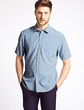 Modal Blend Striped Shirt with Pocket, AQUA MIX, catlanding