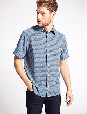 Square Design Printed Shirt, SOFT BLUE, catlanding