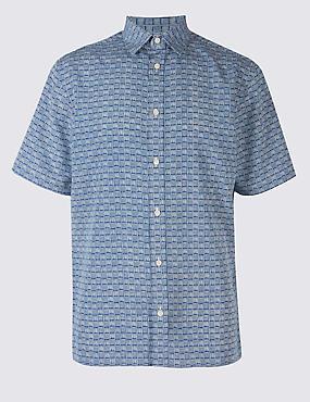 Easy Care Printed Shirt, SOFT BLUE, catlanding