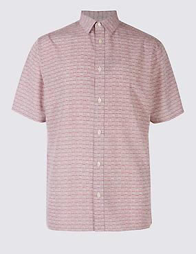 Easy Care Printed Shirt, DUSKY ROSE, catlanding