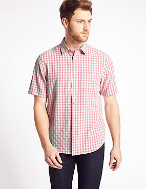 Easy Care Modal Rich Shirt with Pocket, SOFT CORAL, catlanding