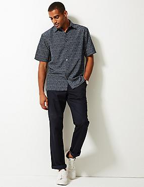 Geometric Print Shirt, MIDNIGHT, catlanding