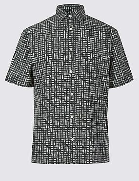 Geometric Print Shirt, KHAKI MIX, catlanding