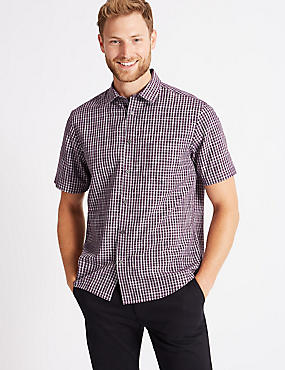 Modal Blend Checked Shirt with Pocket, PURPLE MIX, catlanding