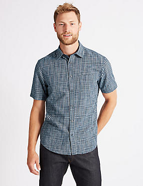 Modal Blend Checked Shirt with Pocket, NAVY, catlanding