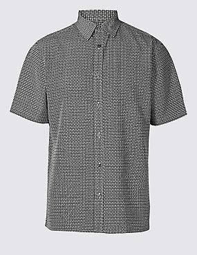 Geometric Print Shirt, BLACK MIX, catlanding
