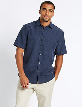 Modal Rich Textured Shirt with Pocket , NAVY, catlanding