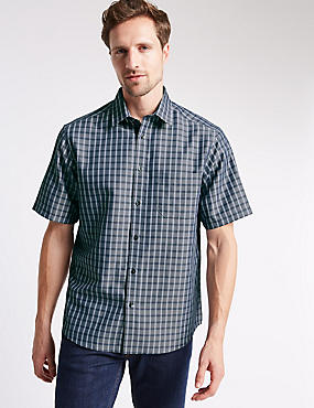 Short Sleeve Easy Care Soft Touch Checked Shirt with Modal