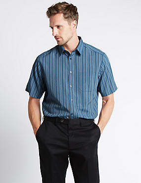 Modal Blend Easy Care Multi Striped Soft Touch Shirt