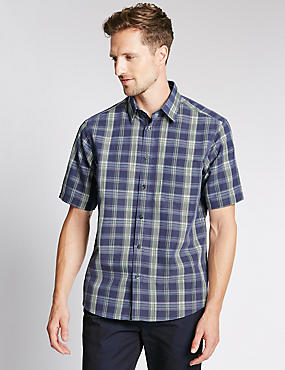 Ombre Checked Soft Touch Shirt with Modal