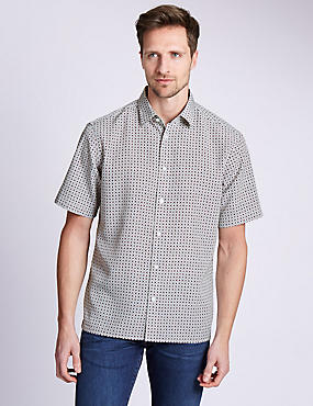 Easy Care Soft Touch Short Sleeve Tile Print Shirt