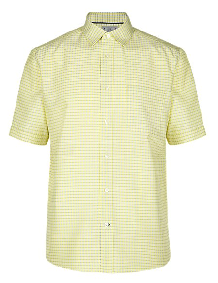 Modal Blend Easy Care Short Sleeve Dobby Checked Shirt