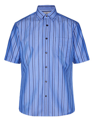Easy Care Soft Touch Dobby Striped Shirt with Modal Clothing