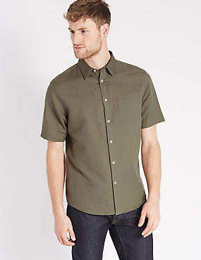 Linen Blend Shirt with Pocket