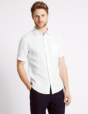 Linen Rich Slim Fit Shirt with Pocket