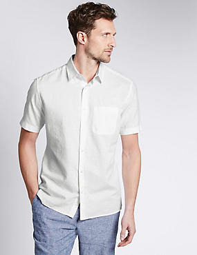 Cotton Blend Tailored Fit Shirt with Pocket