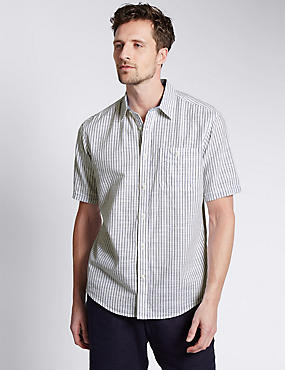 Pure Cotton Lightweight Slub Striped Shirt