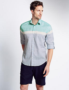 Linen Blend Horizontal Striped Shirt