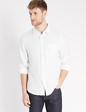 Pure Linen Easy Care Shirt with Pocket