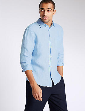 Pure Linen Shirt with Pocket, BLUE, catlanding