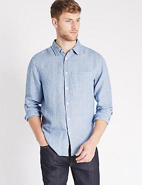Pure Linen Textured Shirt with Pocket, BLUE, catlanding