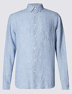 Pure Linen Easy Care Long Sleeve Shirt