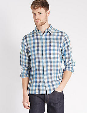 Pure Linen Easy Care Checked Shirt