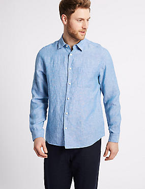 2in Longer Pure Linen Shirt with Pocket, LIGHT BLUE, catlanding
