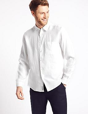 2in Longer Pure Linen Shirt with Pocket, WHITE, catlanding