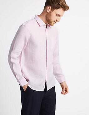Pure Linen Shirt with Pocket, PINK, catlanding