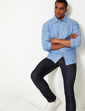 Pure Linen Shirt with Pocket, LIGHT BLUE, catlanding