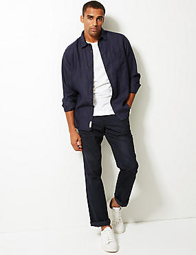 Pure Linen Shirt with Pocket, NAVY, catlanding