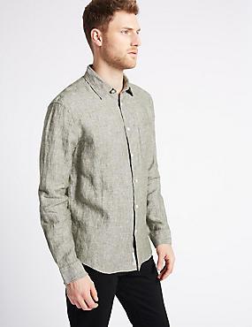 Pure Linen Shirt with Pocket, KHAKI, catlanding