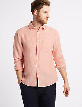 Pure Linen Shirt with Pocket, PEACH, catlanding