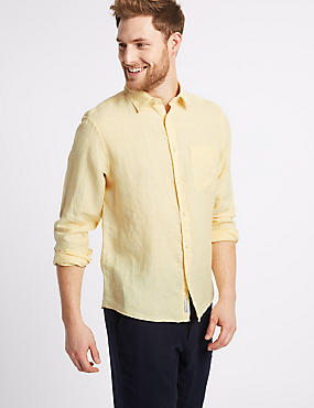 Pure Linen Shirt with Pocket, YELLOW, catlanding