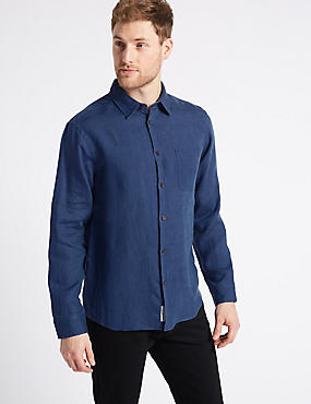 Pure Linen Shirt with Pocket, DARK BLUE DENIM, catlanding